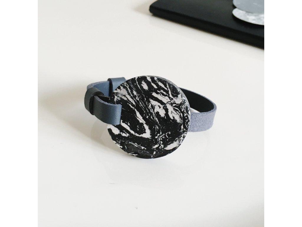 UMMA tenký kožený náramek / šedý s žíhaným černobílým mramorem