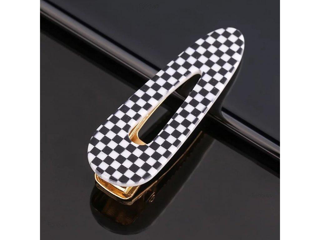 Sponka / clip do vlasů - černobílá kostka - CHESS CLIP I.