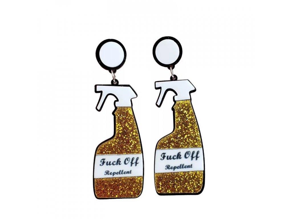 Náušnice FUCK OFF REPELLENT - zlaté / GOLD