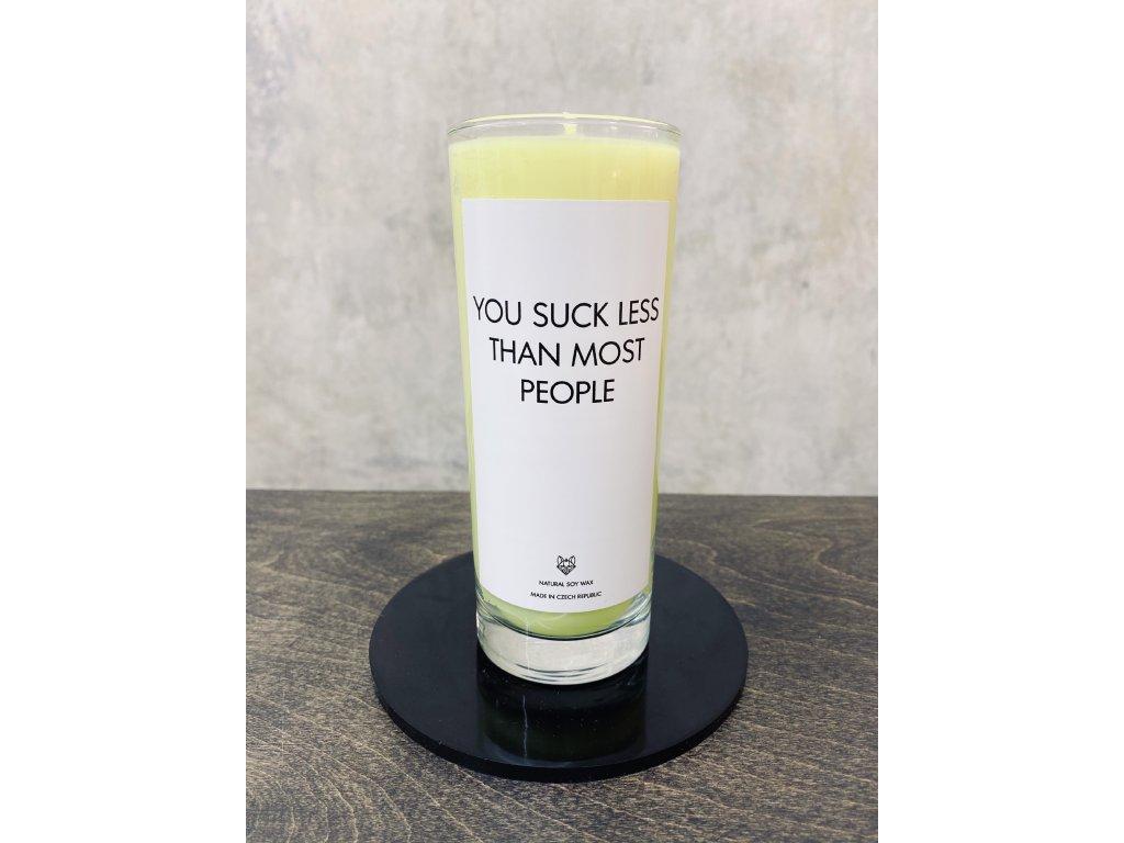 Things by E. - IRONIC CANDLES - velká sójová svíčka - YOU SUCK LESS / žlutá - mango
