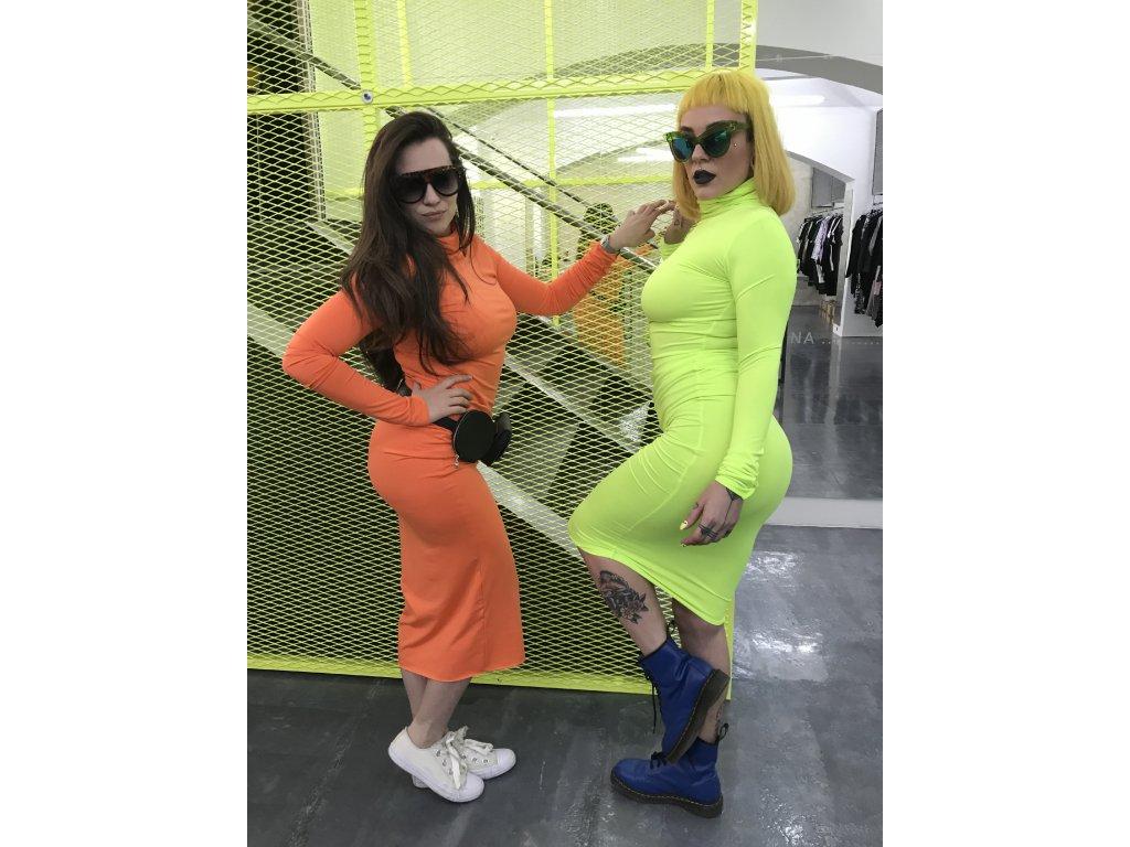 Šaty polodlouhé neonové žluté s dlouhým rukávem / NEON YELLOW