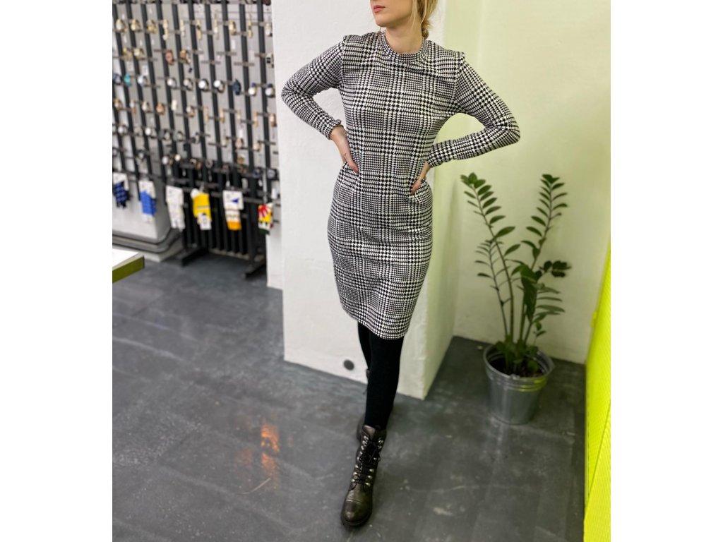 EVONA dámské černobílé šaty PEPITO / shepherd´s check