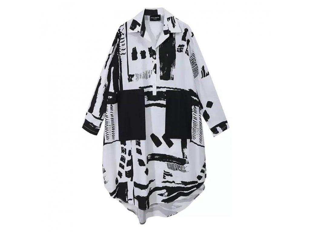 Košilové šaty s dlouhým rukávem - COYOTTE