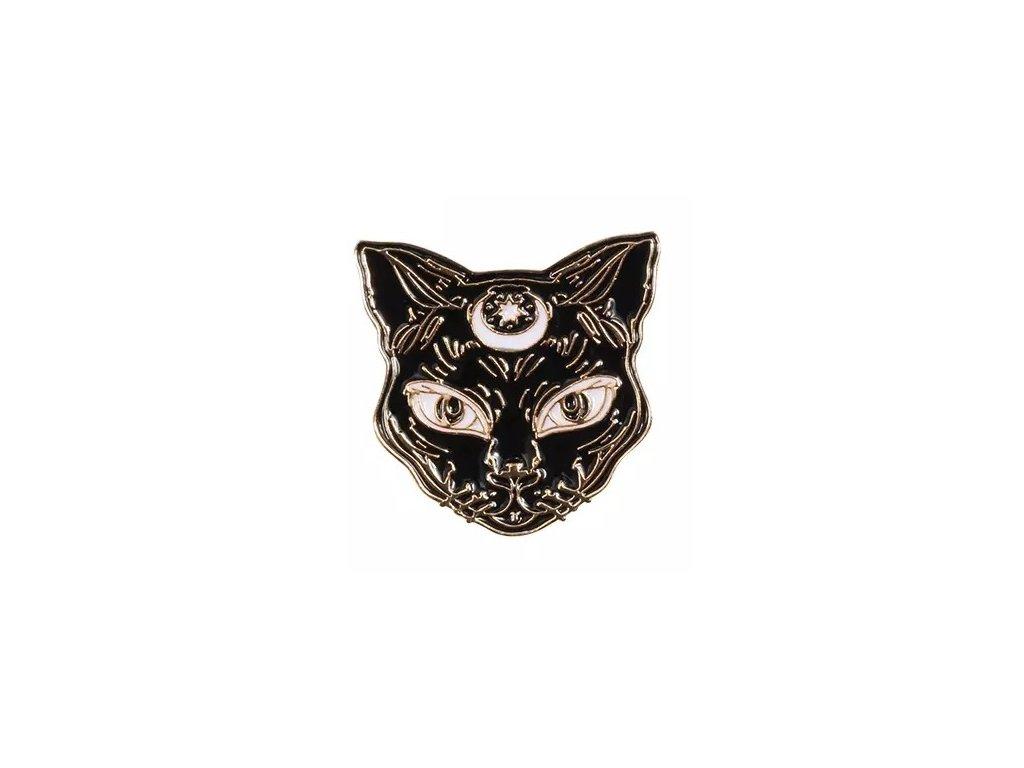Pin / Brož Odznáček - kočka / MOON CAT