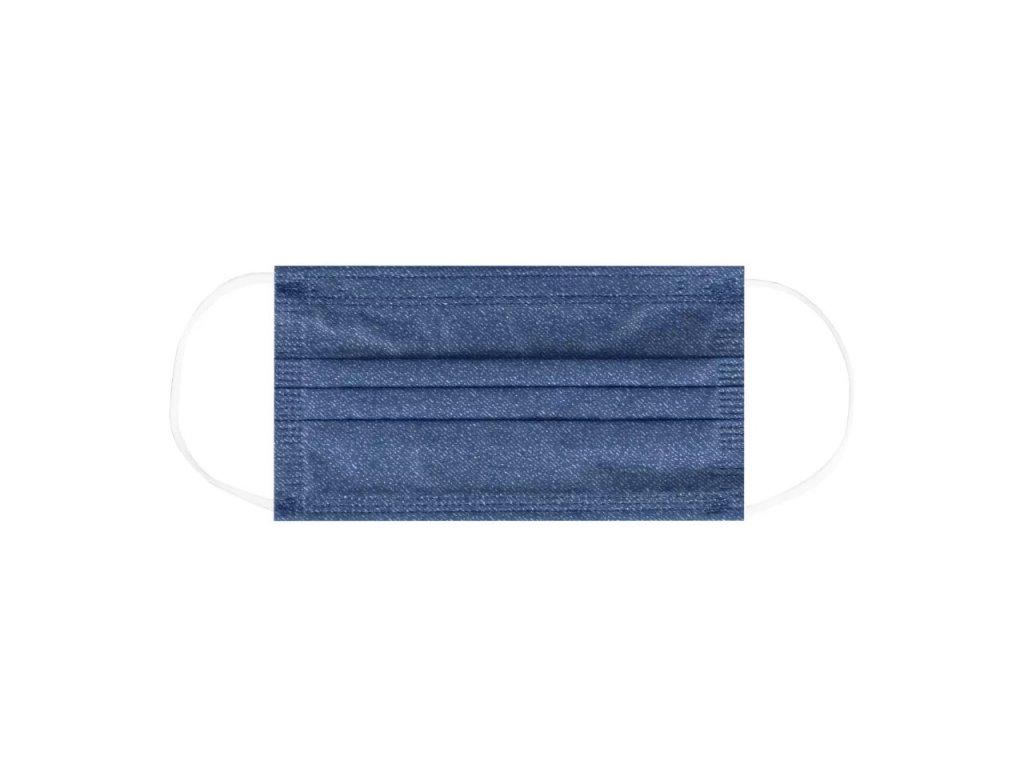Jednorázová modrá rouška / maska / ústenka - BLUE JEANS