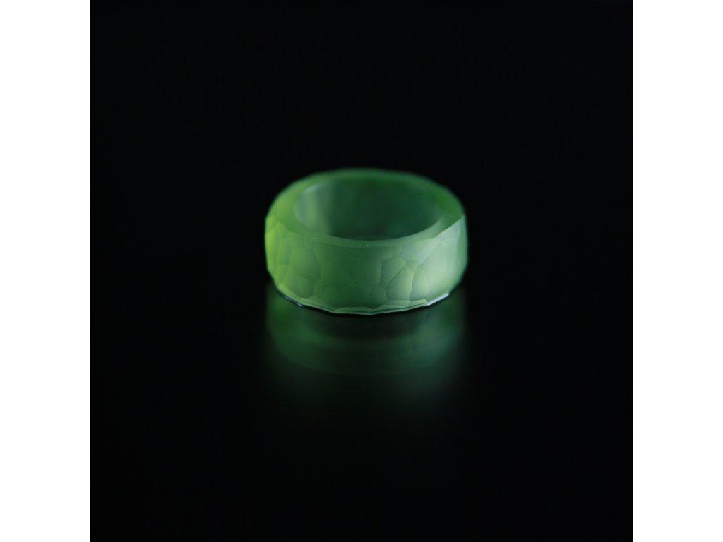 Luba Bakičová - broušený prsten ze skla / CLEAR kroužek geom - žlutozelený