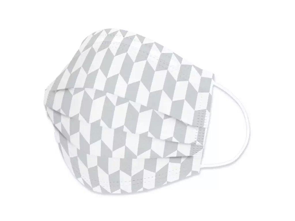 Jednorázová rouška / ústenka - WHITE AND GRAY