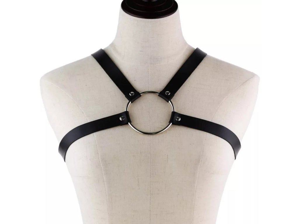 Harness - koženkové popruhy / body strap / bondage - BLACK WITH CIRCLE
