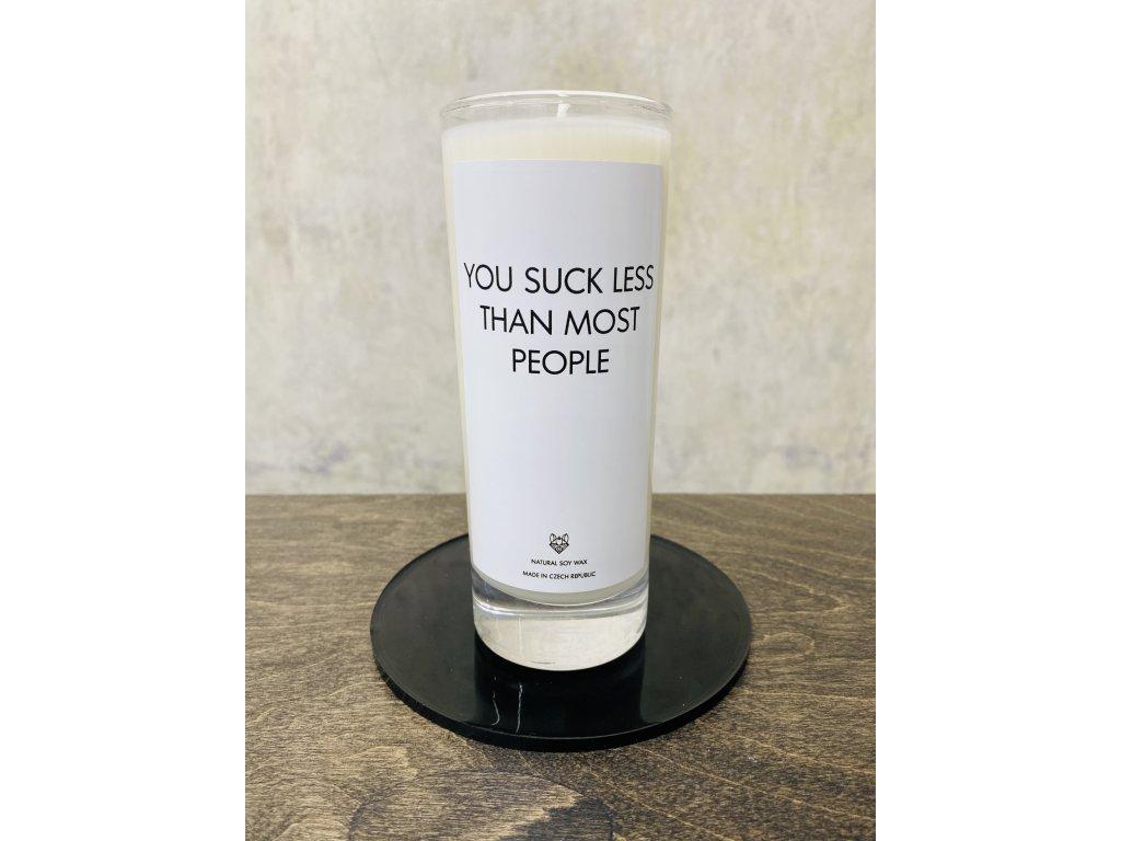 Things by E. - IRONIC CANDLES - sojová svíčka - YOU SUCK LESS THAN MOST PEOPLE / jasmín
