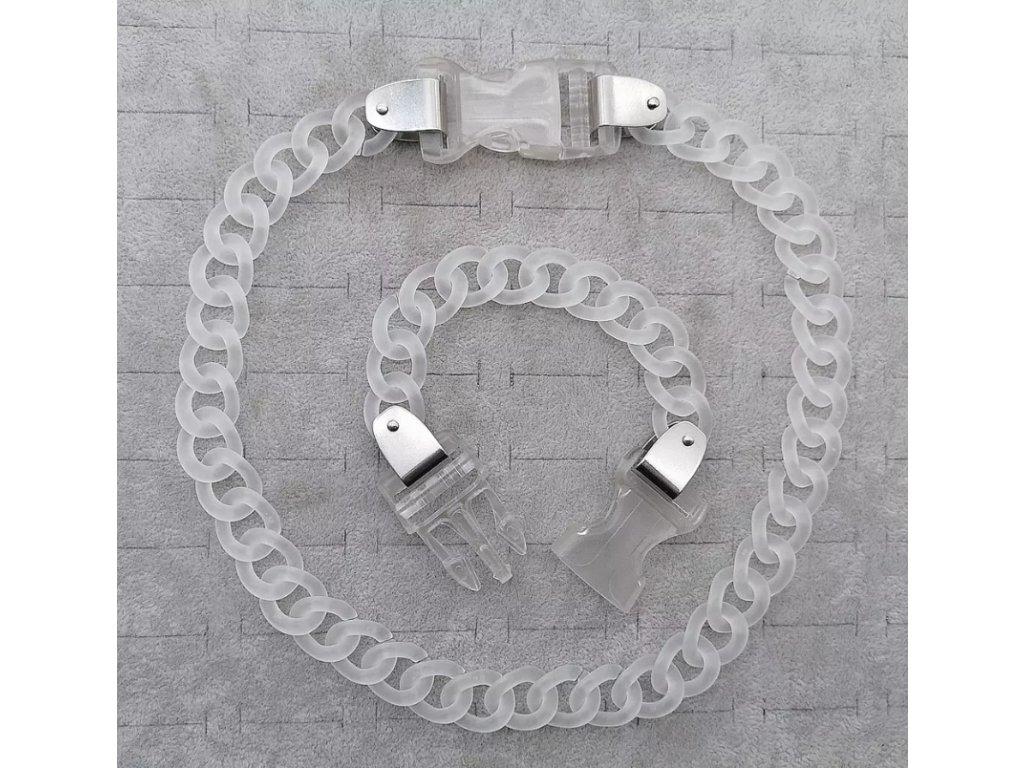 DARK náramek - průhledný řetěz s přezkou II. / chain with buckle