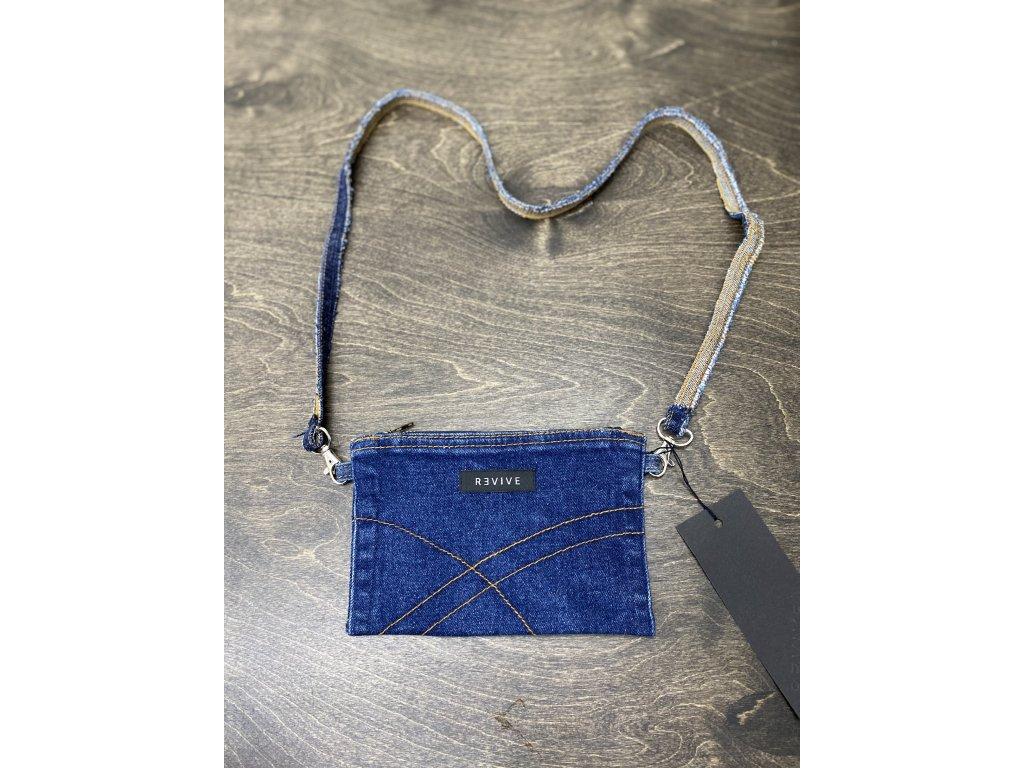 REVIVE CLOTHES upcyklovaná jeansová taštička / peněženka na šňůře III.