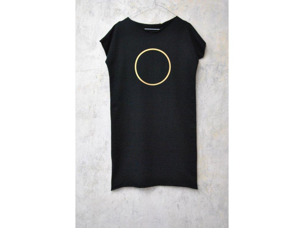 ARTGI Šaty KA, černá teplák. 100 % bavlna, výkroj výstřih, zlatý kruh + kroužek, S / 21
