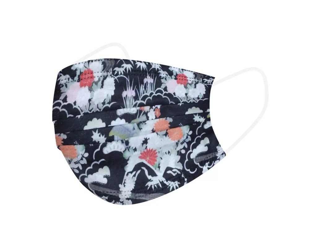 Jednorázová rouška / maska / ústenka květinová - DARK FLOWERS