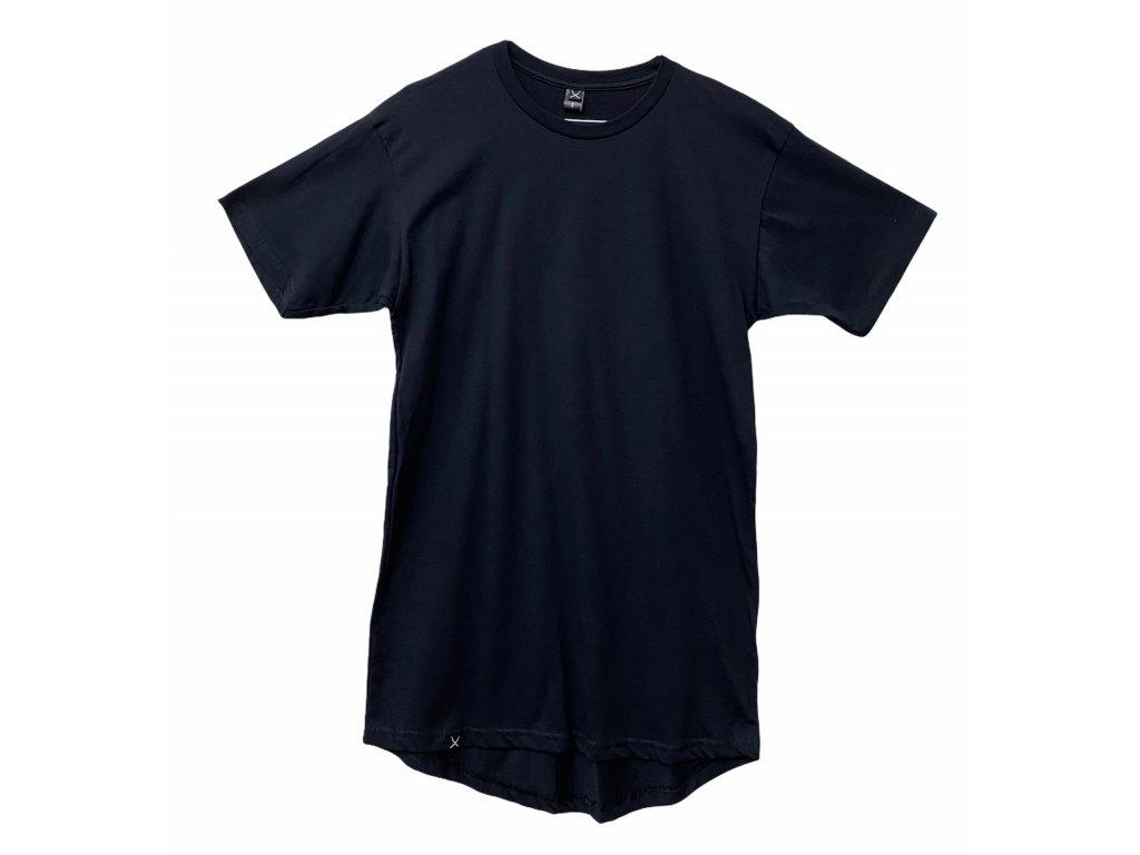 NTRXZ pánské tričko černé - prodloužený střih / bez potisku