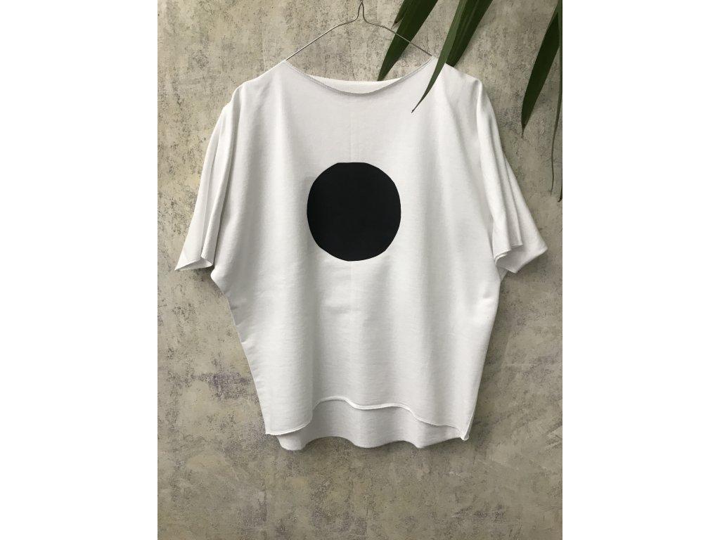 ARTGI Mikina, bílé, 100 % bavlna, kr. rukáv, černé fragmenty, S / 10