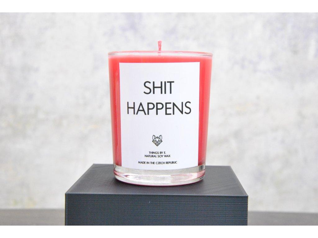 Things by E. - IRONIC CANDLES - malá svíčka - SHIT HAPPENS / red berries