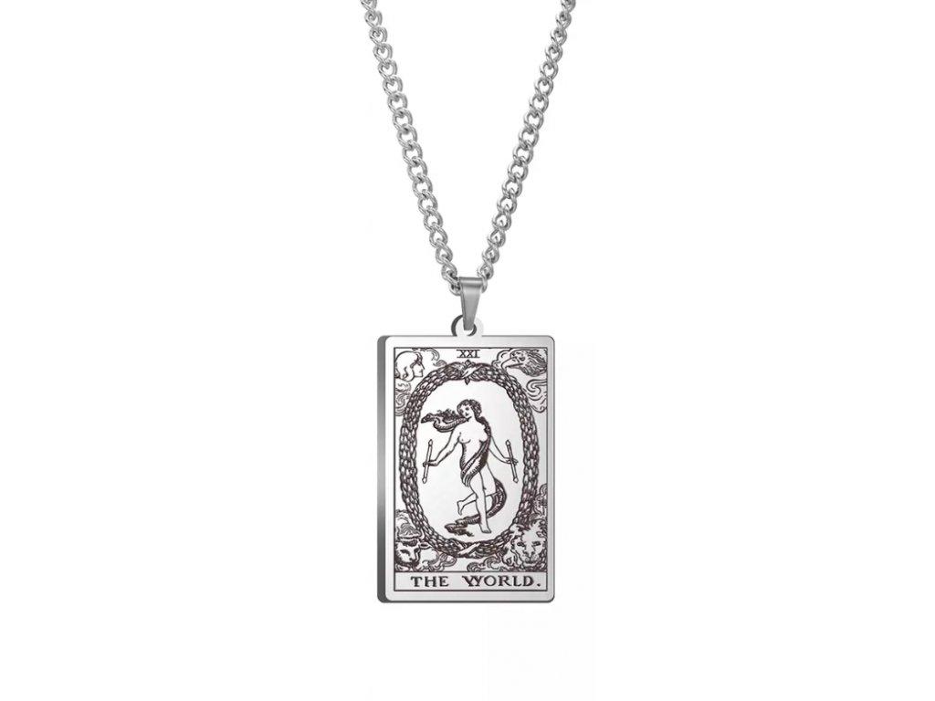 DARK TAROT náhrdelník z nerez oceli / stříbrný - THE WORLD