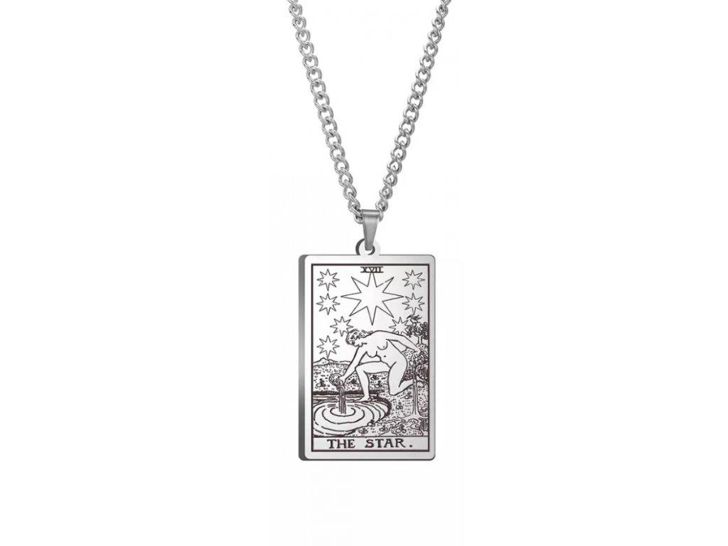 DARK TAROT náhrdelník z nerez oceli / stříbrný - THE STAR