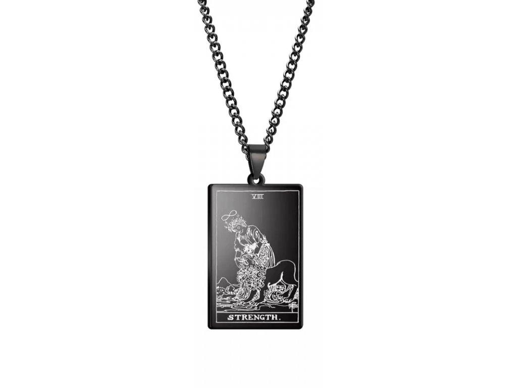 DARK TAROT náhrdelník z nerez oceli / černý - STRENGHT
