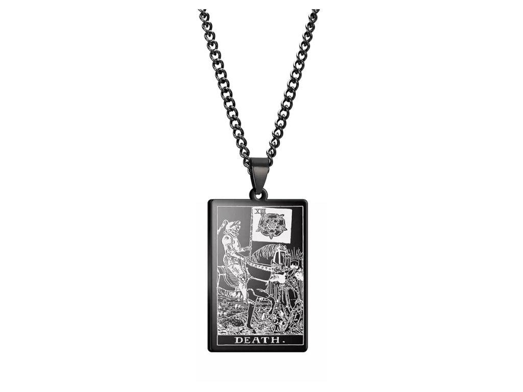 DARK TAROT náhrdelník z nerez oceli / černý - DEATH