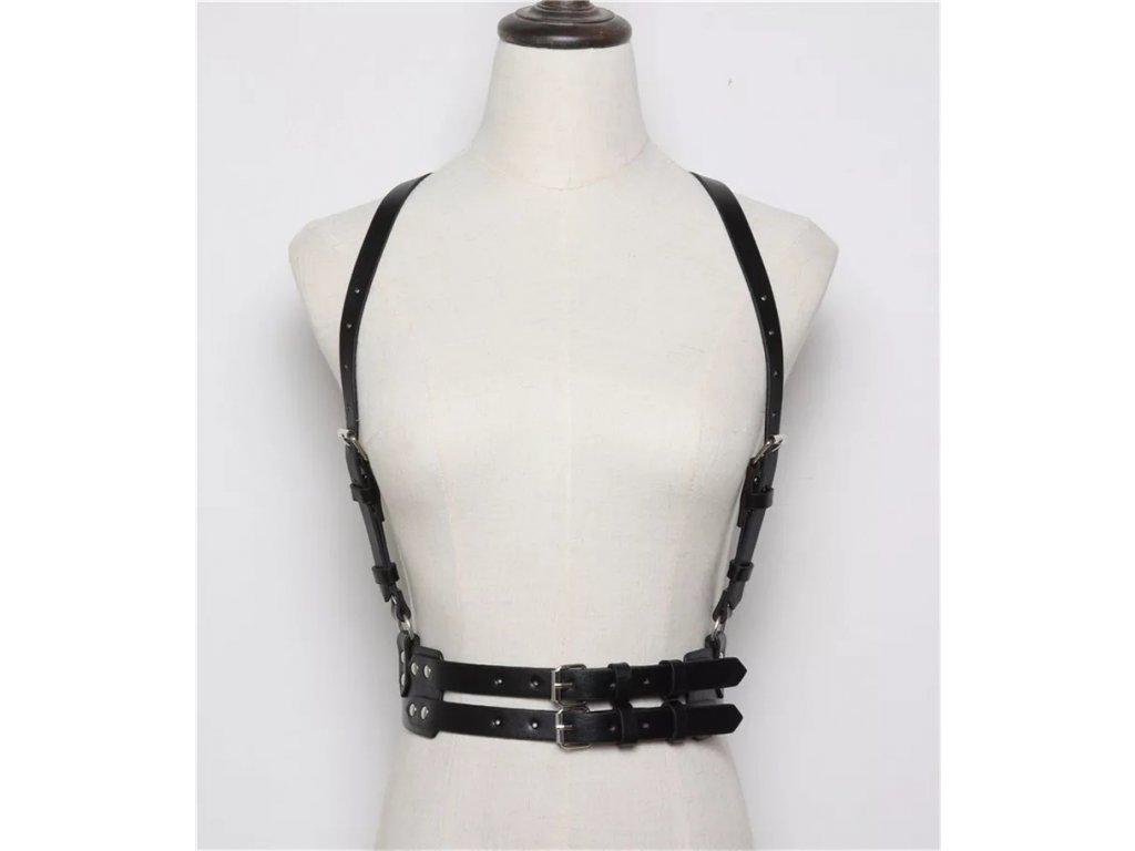 Bodypiece harness / kšandy / pásek - černý koženkový dvojitý