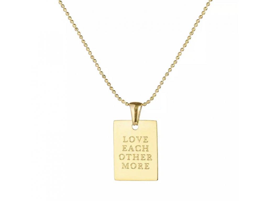 SMILEY náhrdelník zlatý LOVE EACH OTHER MORE