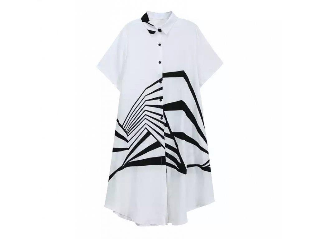 Košilové šaty bíločerné s krátkým rukávem BROKEN STRIPES