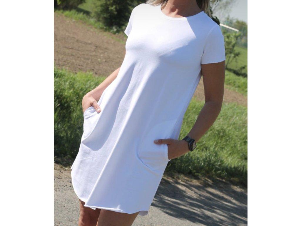 PARMA basic bílé tričkošaty s kapsami