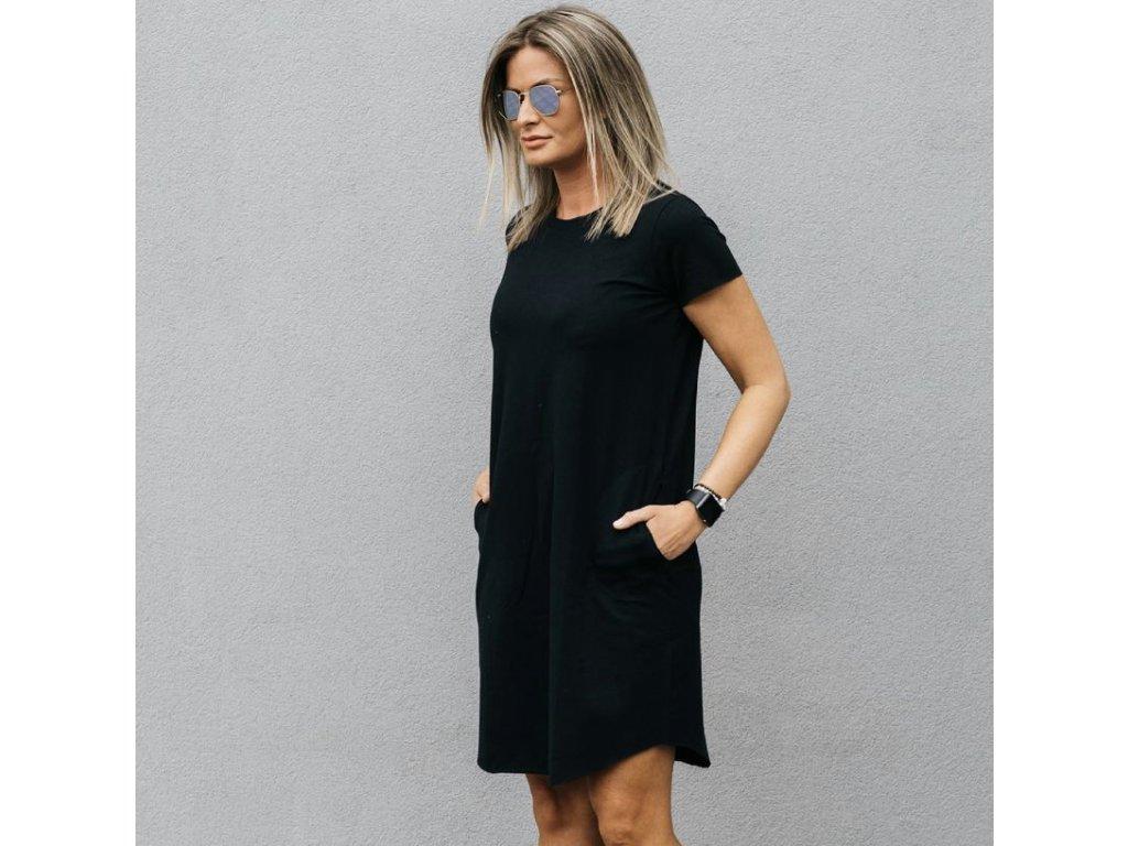 PARMA basic černé tričkošaty s kapsami