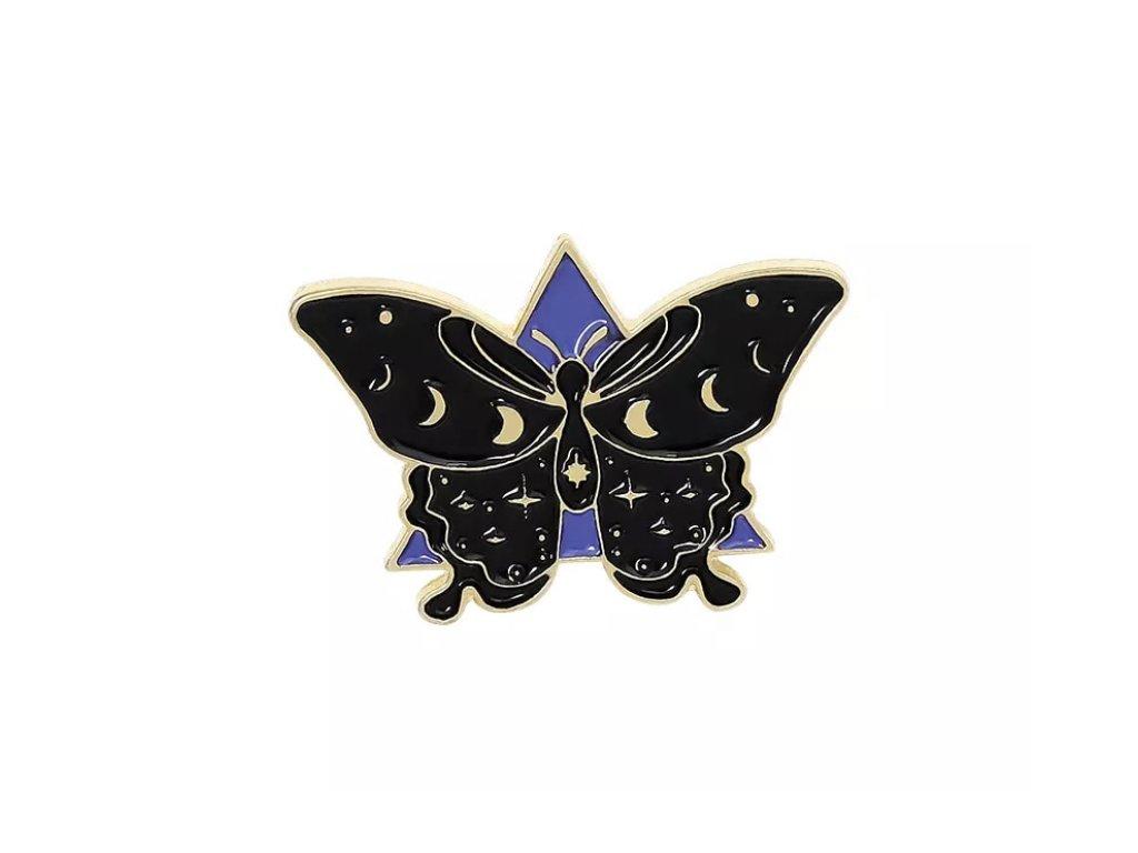 Pin / Brož Odznáček - Motýl / NIGHT BUTTERFLY