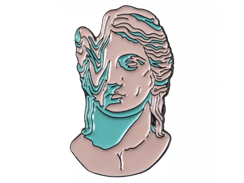 Pin / Brož destička Antická hlava melting