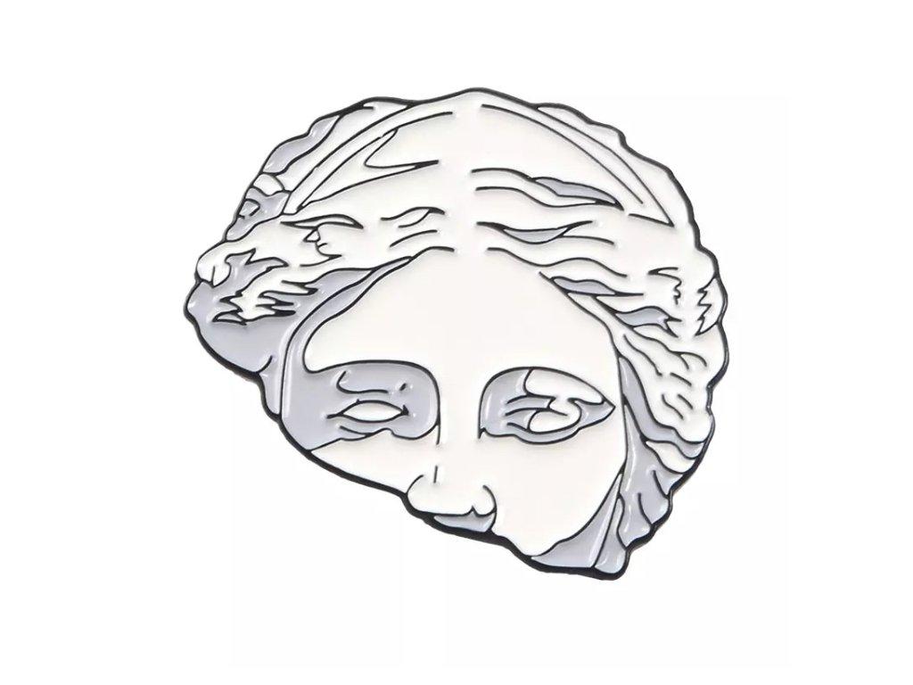 Pin / Brož destička Antická hlava - obličej - půlka