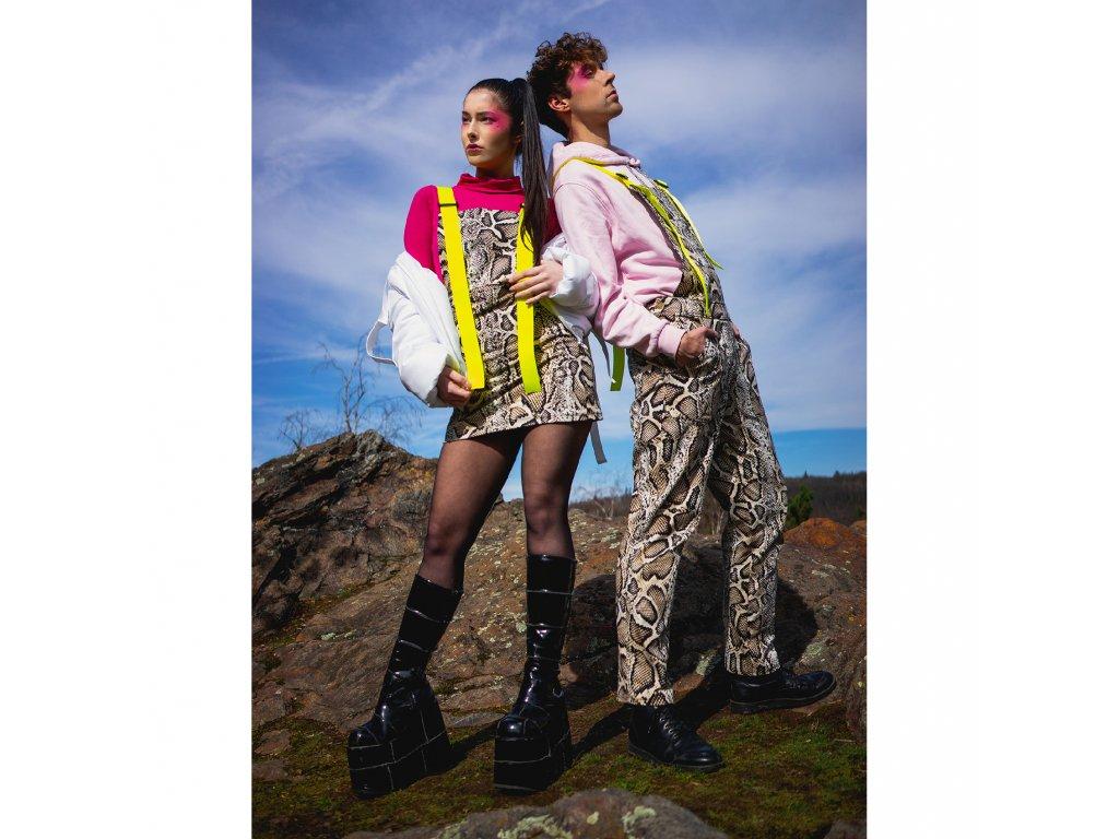 PRINCESS TIRAMISU pánské Kalhoty / lacláče Cargo pants - hadí kůže s neon žlutým páskem