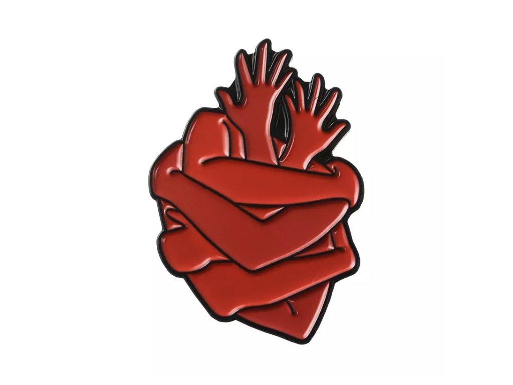 Pin / Brož odznáček Srdce ruce - červené