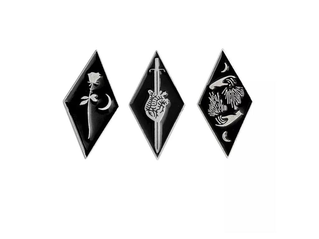 Pin / Brož kosočtverec stříbrná - Ruce, Srdce, Růže