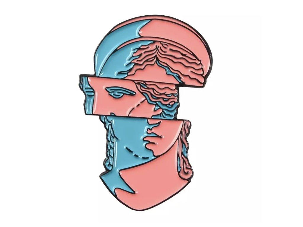 Pin / Brož destička Antická hlava posunutá 2
