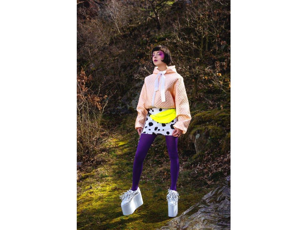 PRINCESS TIRAMISU Ledvinka - neonová žlutá z řetězem