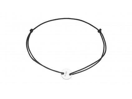 NLMT design náramek stříbro Ag kroužek na černé šňůrce