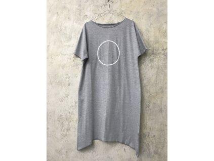 ARTGI Šaty AN bavlněné šedé žíhané - bílý kruh - M / 32