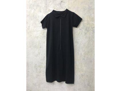 ARTGI Šaty s límečkem bavlněné černé, černá čára, M / 34