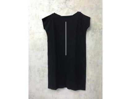 ARTGI Šaty KA, černé bavlněné s rozparkem uprostřed, bílá čára, L / 36