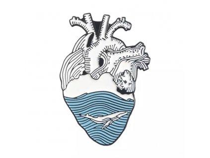 Pin / Brož Srdce oceánu - modré - II - velryba