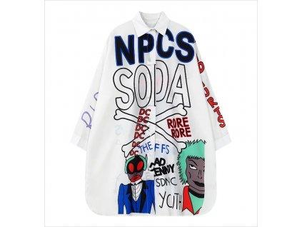 Graffity unisex košile soda s obrázky / bílá