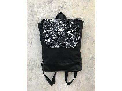 MAKE Design / Batoh černý s černobílou klopou II.