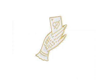 Pin / Brož odznáček zaklínadlo / bílá ruka s kartou