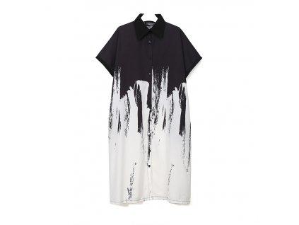 ŠATY / košile černé - grafický potisk - barva I. s krátkým rukávem