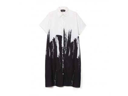 Košilové šaty černobílé- barva II. s krátkým rukávem