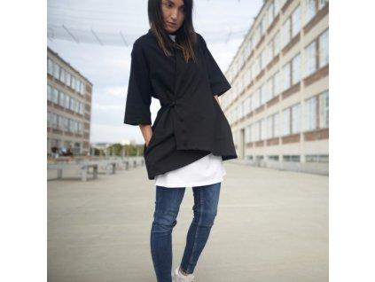 BIOGA dámská černá mikina HERMINIO - zavinovací / kimono styl