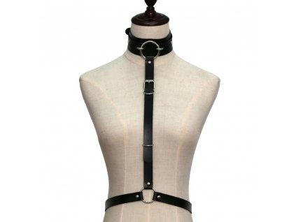 CHOKER / bodypiece černý koženkový