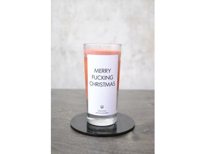 Things by E. - IRONIC CANDLES - MERRY FUCKING CHRISTMAS / red-orange